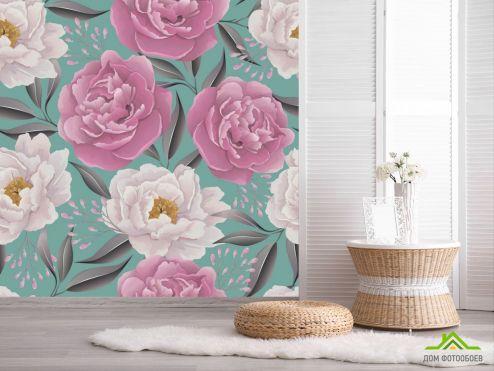 обои Цветы Фотообои Паттерн из пионов