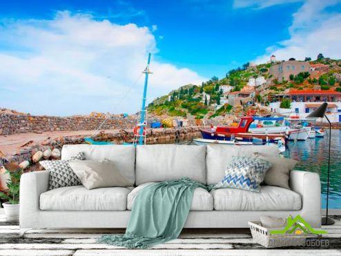 обои Город Фотообои Лодки на Греческих островах