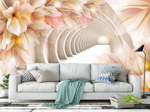 Расширяющие пространство Фотообои Тонель из цветов купить