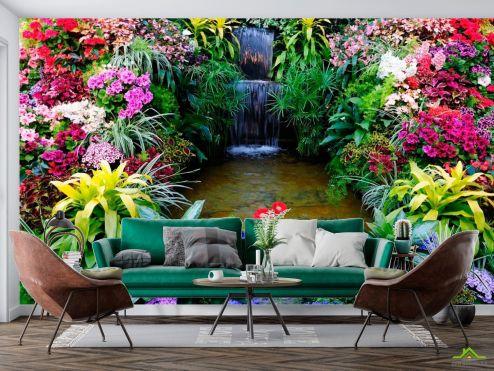 Природа Фотообои Водопад, цветы