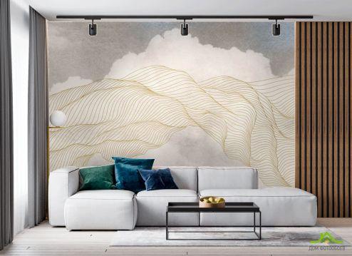 в гостиную Фотообои Небо и абстракция в стиле line art