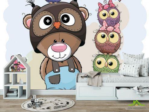 обои в детскую Фотообои Мишка и совы