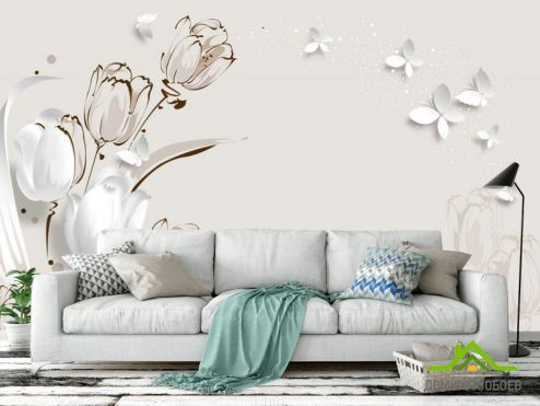 3Д  Фотообои  Векторные тюльпаны