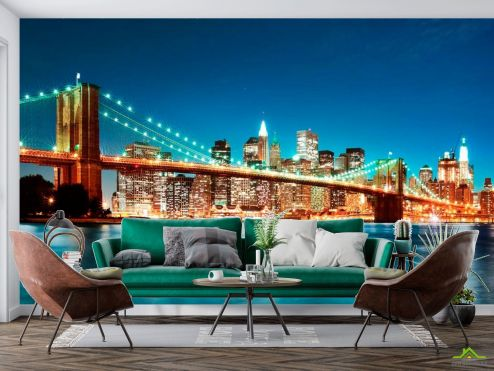 Нью Йорк Фотообои Мост  ночного New York