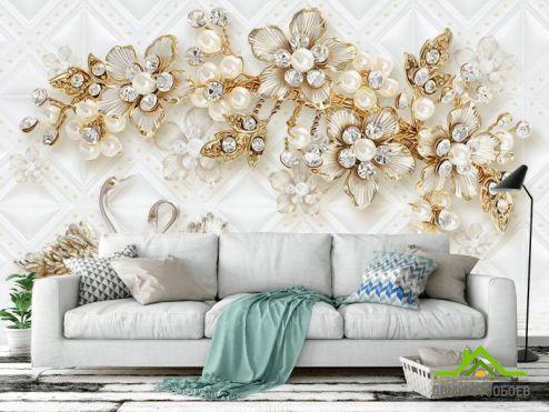 обои цветы 3d Фотообои  Золотые цветы с лебедями