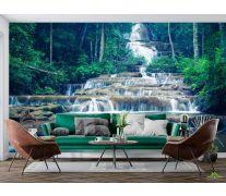 Фотообои ступенчатый водопад в лесу