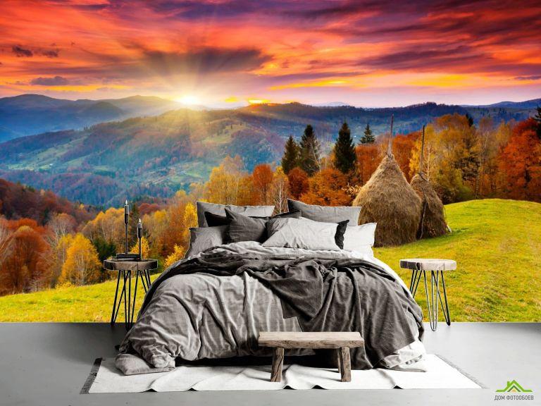 Фотообои стоги сена в горах