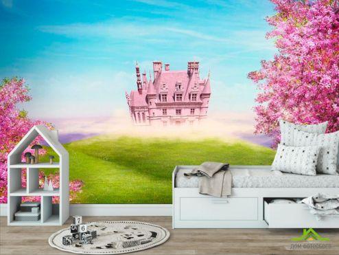 обои в детскую Фотообои Розовый замок