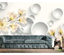 Фотообои Цветы с кругами