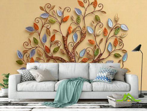 3Д  Фотообои Янтарное дерево