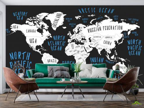 Фотообои карта Мира по выгодной цене Фотообои Карта на черном фоне