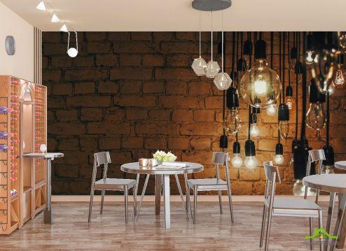 для кафе Фотообои Лофт стена с лампами