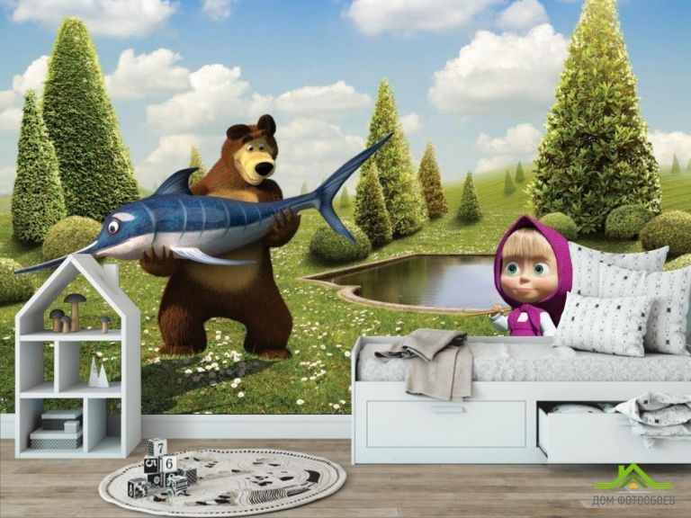 Фотообои Маша, медведь, рыба