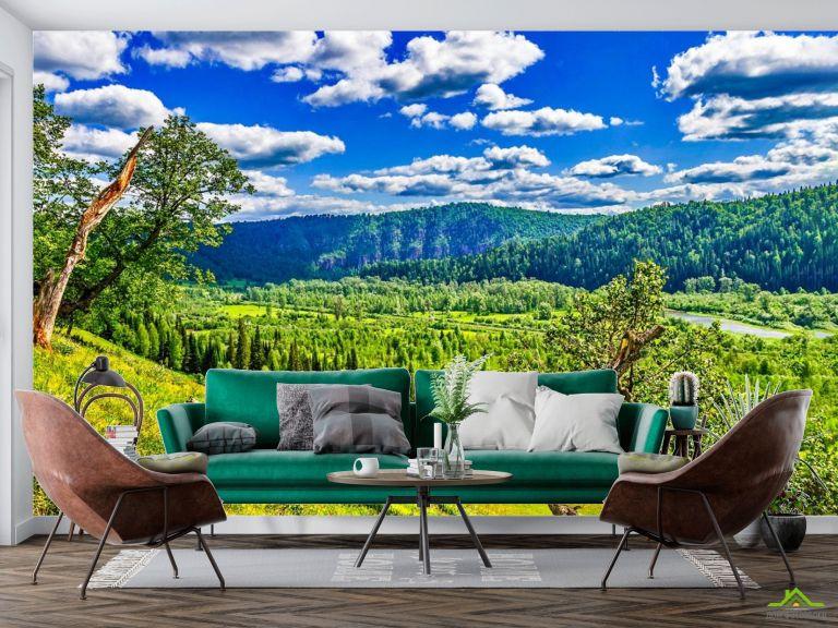 Фотообои зелено-голубая природа