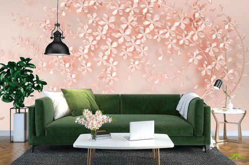 3Д  Фотообои Розовое перламутровое дерево