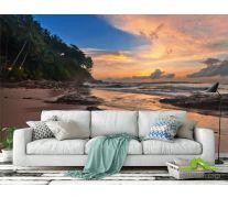 Фотообои закат на берегу моря