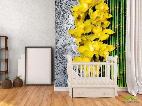 обои Цветы Фотообои желтая орхидея с бамбуком и водой