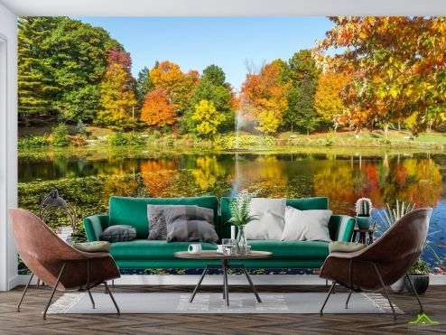 Фотообои Природа по выгодной цене Фотообои осень деревья и фонтан над озером