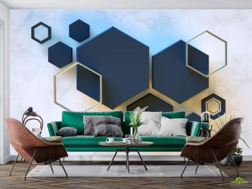 3D абстракция Фотообои Черные шестиугольники