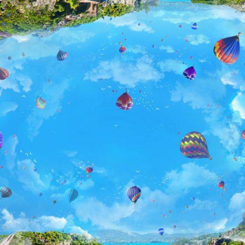 Фотообои на потолок по выгодной цене Фотообои Воздушные шары на потолок