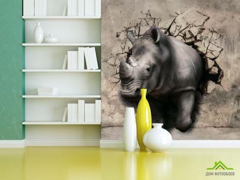 3Д обои 3д фотообои Носорог
