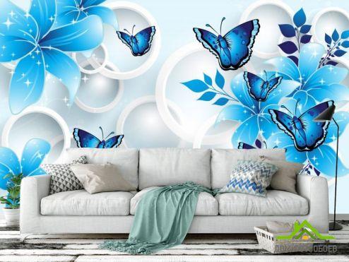 обои цветы 3d Фотообои  Синие цветы вектор