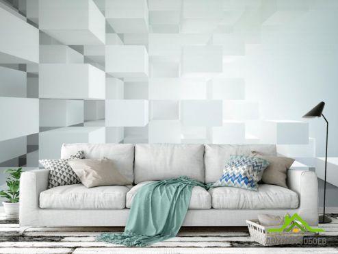3D  расширяющие пространство Фотообои Белые объёмные кубы
