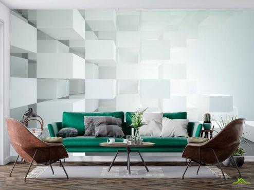 3Д  Фотообои Белые объёмные кубы купить