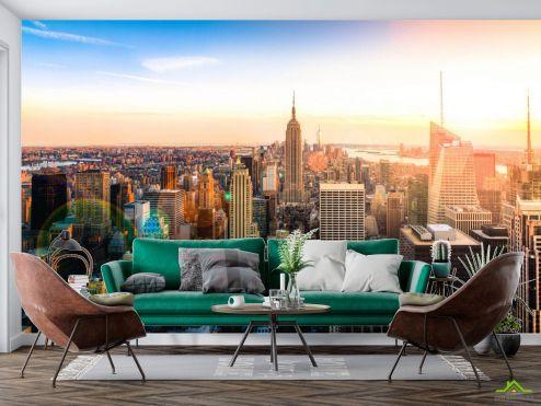 Фотообои Город по выгодной цене Фотообои Манхеттен на закате