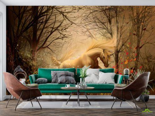 Лошади Фотообои Конь в лесу