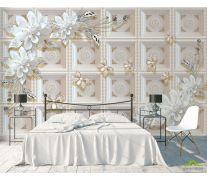 Фотообои Керамические цветы на фоне золотой стены