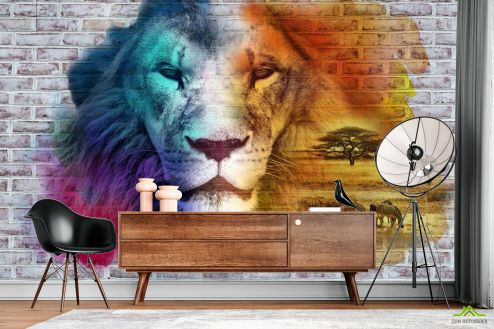 3Д  Фотообои Стена 3д со львом