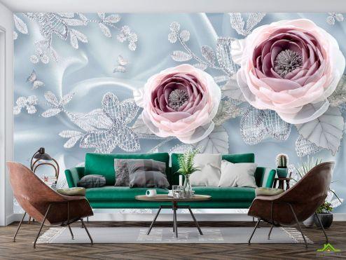 3Д  Фотообои Тканевые 3д цветы