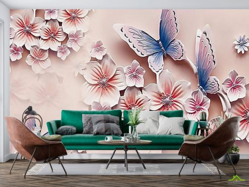 3Д  Фотообои Цветы и бабочки