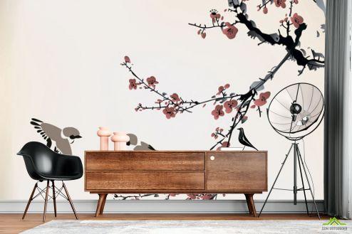 Восточный стиль Фотообои Векторная ветка сакуры