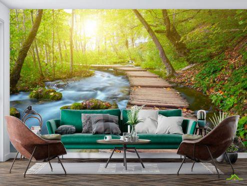 Природа Фотообои деревянная дорожка в лесу