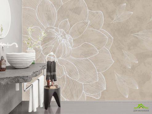 Фотообои в ванную по выгодной цене Фотообои Бежевый векторный цветок