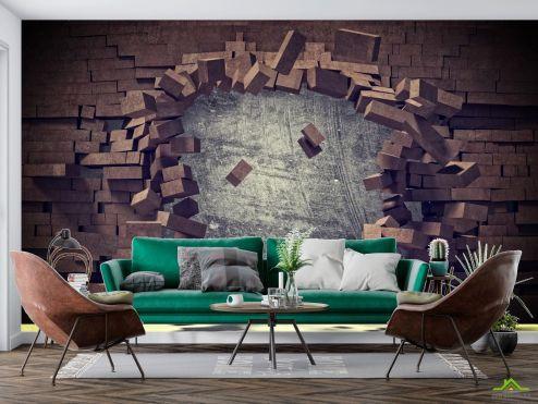 Расширяющие пространство Фотообои Разбитая коричневая кирпичная стена купить