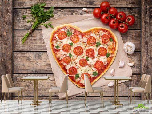 для кафе Фотообои Пицца в виде сердца