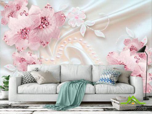 3Д обои Фотообои Розовые цветы на атласе