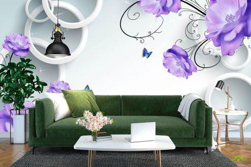 3Д  Фотообои Фиолетовые цветы с кругами