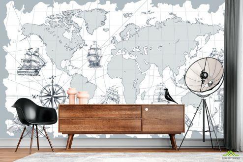 Фотообои карта Мира по выгодной цене Фотообои Серая ретро карта