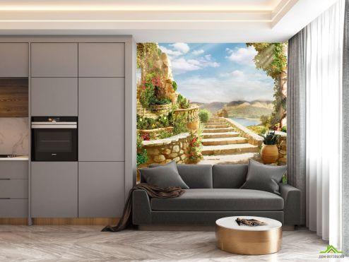Фотообои на кухню по выгодной цене Фотообои в кухню Лестница