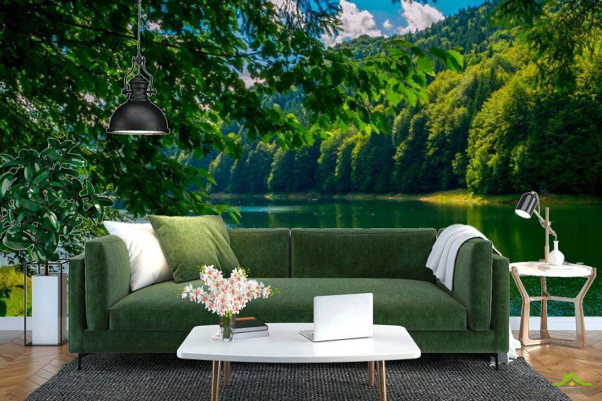 Фотообои зеленые деревья над рекой