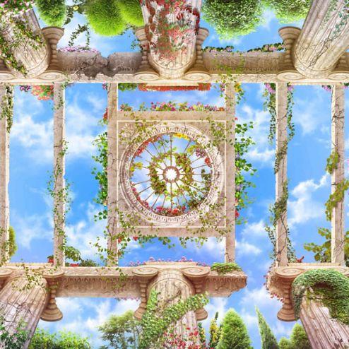обои на потолок Фотообои Колоннны с видом на небо