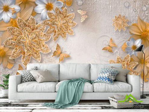 цветы 3d Фотообои  Золотые брошки с узорами