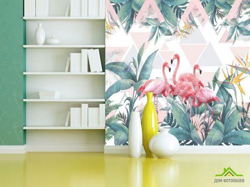 обои с Фламинго Фотообои Фламинго и тропики