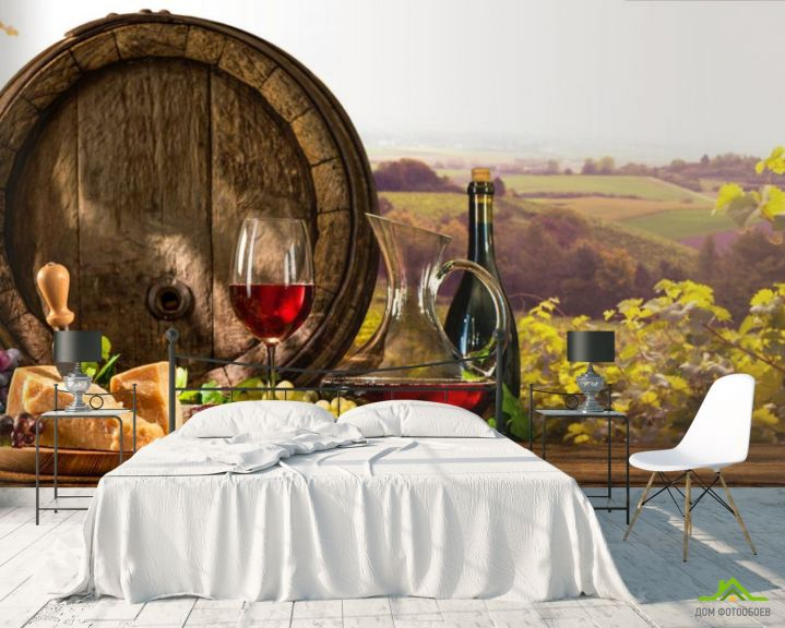 Фотообои бочка, сыр и вино