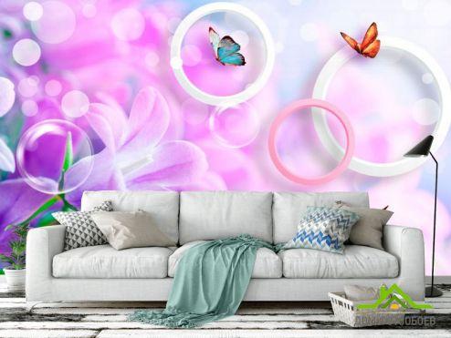 3Д  Фотообои Сирень и бабочки