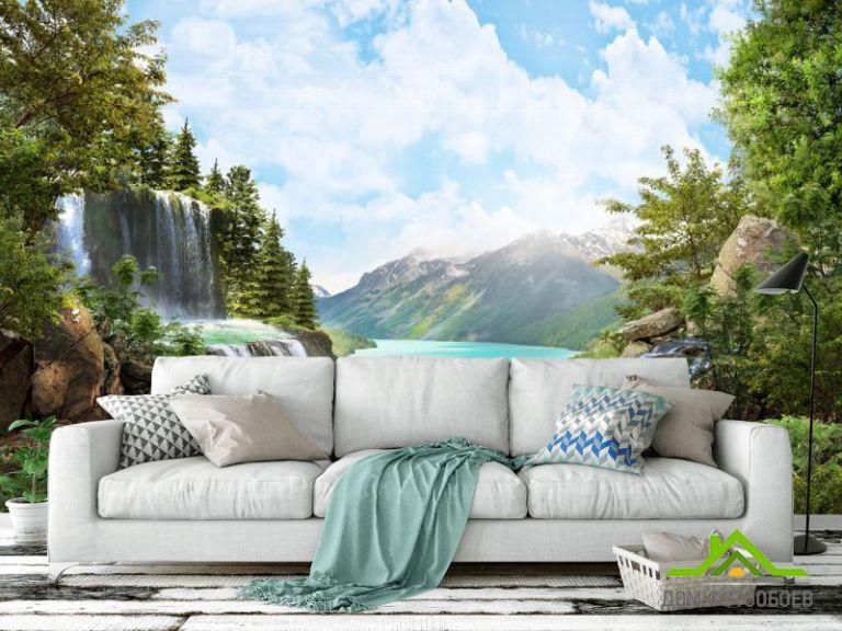 Фотообои водопад над озером в горах